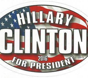 Hillary Patriotic oval bumper sticker 2016