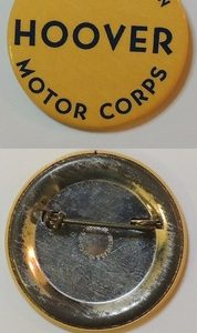 Woman's Division 2 inch Hoover Motor Corps Campaign Button with pin fastener on back