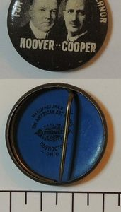 1928 For President For Governor Jugate Hoover Cooper campaign button