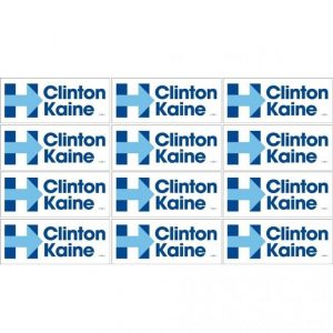 12 Pack - Hillary Clinton and Tim Kaine White bumper stickers with Blue Lettering