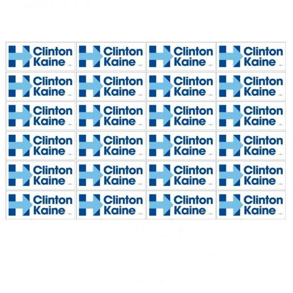 24 Pack - Hillary Clinton and Tim Kaine White bumper stickers with Blue Lettering