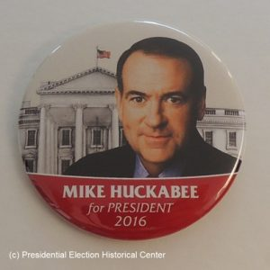 Mike Huckabee for President 2016 red bottom with face in front of the White House