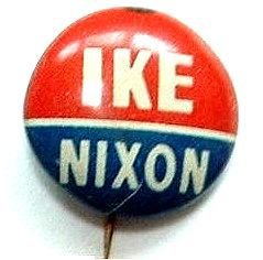 Rare IKE Nixon Campaign Button / Thin white center