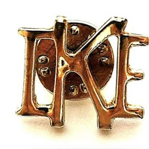 IKE gold colored metal lapel pin tie tack with fastener / Looks new