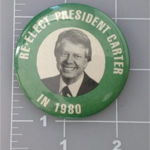 Re Elect President Carter in 1980 2 - 1/4 inch campaign button