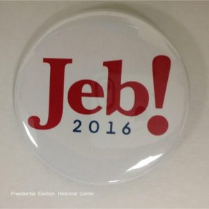 Jeb 2016 white campaign button with red and blue lettering