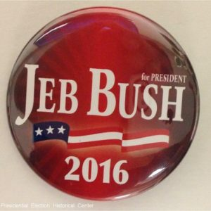 For President Jeb 2016 red campaign button with white lettering and flag banner