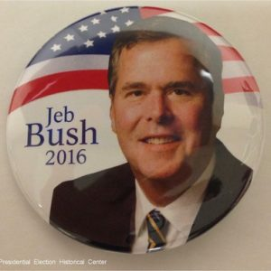 Jeb Bush 2016. White campaign button with blue lettering and flag behind face
