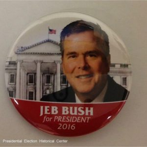 Jeb Bush For President 2016. Red and white campaign button