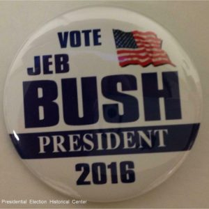 Vote Jeb Bush President 2016. White campaign button with blue lettering and US flag