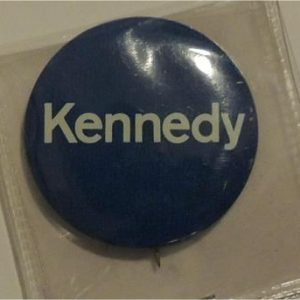 1960 original  Kennedy campaign button / blue with white lettering