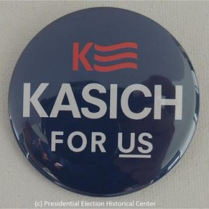 John Kasich 2016 blue campaign button with white and red lettering. Kasich Banner on top