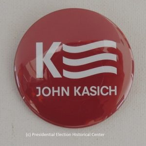 John Kasich 2016 red campaign button with white lettering. Kasich Banner centered