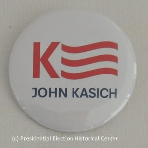 John Kasich white campaign button with red and blue lettering