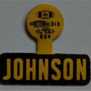 LBJ Lapel Tab Campaign Pin - Johnson yellow with black letters