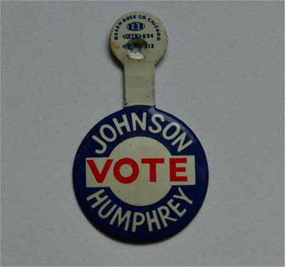 LBJ Lapel Tab Campaign Pin - Johnson Vote Humphrey