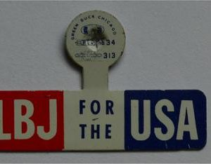 LBJ Lapel Tab Campaign Pin - LBJ for the USA