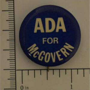 1 - 1/8 inch ADA for McGovern Campaign Button - blue with white letters