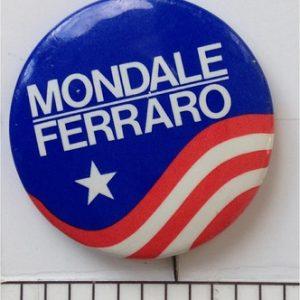 1 3/8 inch 1984 Mondale Ferraro patriotic lithograph campaign button