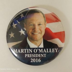 Martin OMalley President 2016 campaign button face photo with flag background