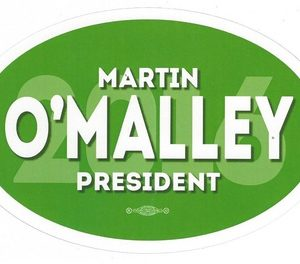 Martin OMalley 2016 President green campaign bumper sticker. Measures 6.5 by 4.5 inches