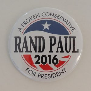 Rand Paul 2016 white campaign button. A Proven Conservative For President