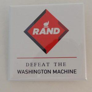 Rand Paul 2016 white campaign button with red diamond logo. Defeat The Washington Machine