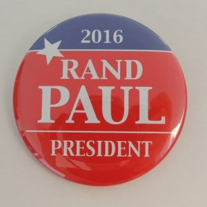 2016 Rand Paul President red campaign button with blue top and white lettering