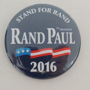 Blue Rand Paul for President 2016 campaign button with flag banner. Stand For Rand