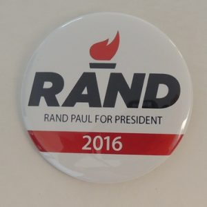Rand Paul For President 2016 white campaign button with black lettering and campaign logo