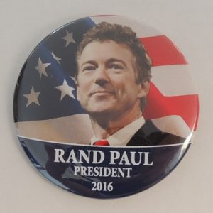 Rand Paul President 2016 campaign button with blue bottom and face in front of American flag