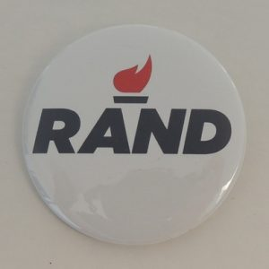 Rand Paul white campaign button with campaign logo and black lettering.