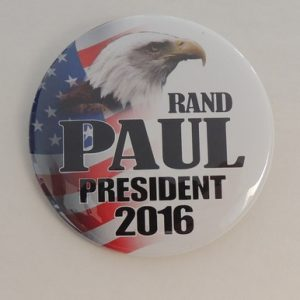 Rand Paul President 2016 campaign button with American eagle in front of flag