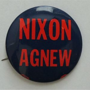 Nixon Agnew black with red lettering Campaign Button / Pin
