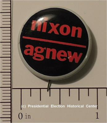 Richard Nixon 7/8 inch Campaign Button - Nixon Agnew black with red lettering line through center