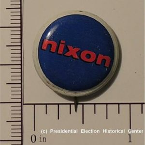Richard Nixon 5/8 inch Nixon red lettering with blue background Campaign Button