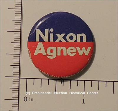 Richard Nixon 1- 1/8 inch Nixon Agnew campaign button