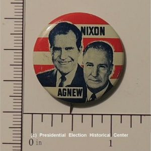 Richard Nixon 1-1/8 inch 1968 Richard Nixon Spiro Agnew Jugate Campaign Button