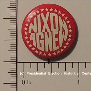 Richard Nixon 5/8 inch Red with white letters Nixon Agnew campaign button