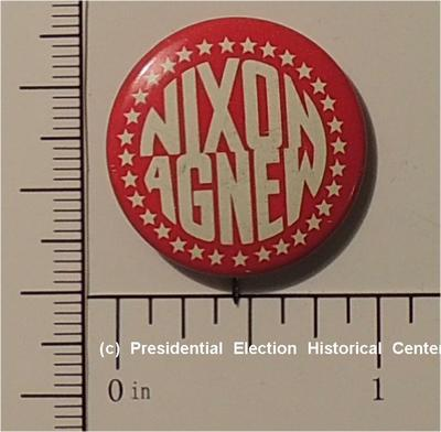 Richard Nixon 5/8 inch Red with white letters Nixon Agnew campaign button