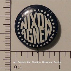 Richard Nixon blue with white letters Nixon Agnew campaign button