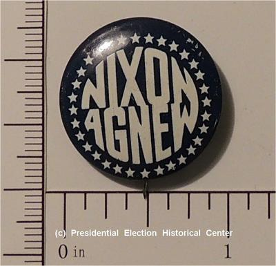 Richard Nixon blue with white letters Nixon Agnew campaign button
