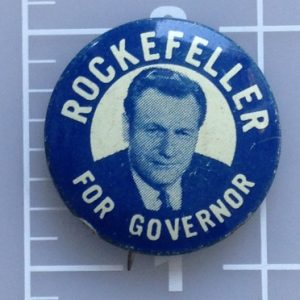 Rockefeller for Governor blue  lithograph campaign button with face photo and union bug lower left