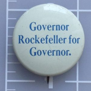 Governor Rockefeller for Governor white campaign button with blue lettering