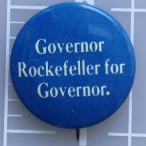 Governor Rockefeller for Governor blue campaign button with white lettering