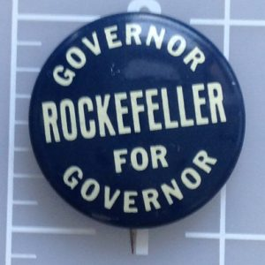 Governor Rockefeller Governor white campaign button with blue lettering