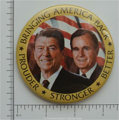 Stronger Better Campaign Button Ronald Reagan Bringing America Back Prouder