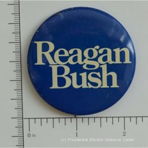 Reagan Bush Blue campaign button