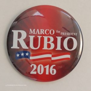 Marco Rubio for President 2016. Red with flag banner