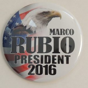 Marco Rubio President 2016 campaign button white with eagle and flag in background